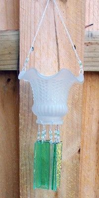 VGlass Lampshade Repurposed and Upcycled into a Windchime with Light Green Stained Glass Chimes