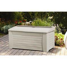 Suncast 127 Gallon Capacity Resin Outdoor Patio Storage Deck Box w/ Seat, Taupe