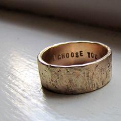 Men's Wedding Band - 14k Gold Unique Rustic Distressed Ring - Unique Wedding Rings