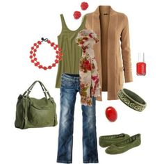 Olive and camel, yes to the jeans, tank, sweater and scarf!