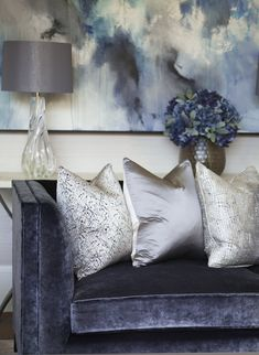 A rich contrast of matte and sheen, these textured jacquard Pleiade cushions by Casamance pop against the crushed velvet blues whilst the melted-clear, crisp glass Heathfield lamp adds a gentle fluidity to our design. - Decor Home Painting Fabric Furniture, Painted Furniture, Living Room Upholstery, Upholstery Foam, Upholstery Cleaner, Upholstery Repair, Upholstery Nails, Upholstery Cushions, Upholstered Chairs