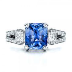 Engagement Rings - Custom Blue Sapphire and Diamond Engagement Ring