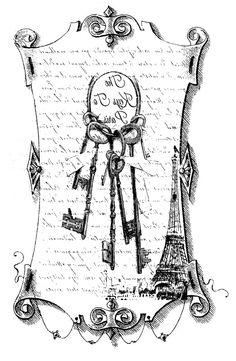 Gorgeous vintage scroll image w/keys