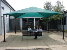 PERFECTSHADE works great in courtyards or break areas like this! Contact Anchor today about adding shade to your business! 812-867-2421