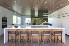 """""""A favorite wood for flooring at the moment is white oak, weather it is with character or rift cut. White Oak is a beautiful neutral tone for an expansive floor surface and we tend to use it on ceilings to complement the flooring below. For spaces with good natural daylight, the white oak can really help brighten and open up a space."""" — Gita Nandan  #hardwood #hardwoodfloor #floortrends"""