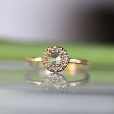 Rose Cut Moissanite 14K Gold Engagement Ring by louisagallery