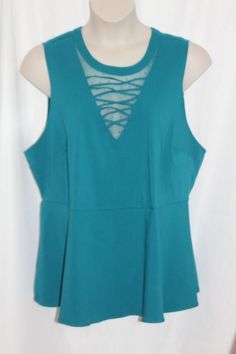 1ba349baa19 Torrid Women s Peplum Blouse Size 3 Teal Blue Sleeveless Stretch Lace  Accent New  Torrid