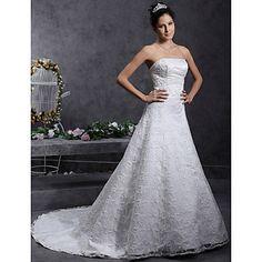 Lanting+Bride®+A-line+/+Princess+Petite+/+Plus+Sizes+Wedding+Dress+-+Classic+&+Timeless+/+Elegant+&+Luxurious+Lacy+Looks+Court+Train+–+USD+$+179.99
