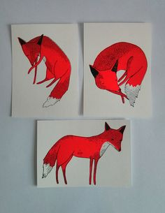 foxes  set of 3 hand screen printed postcards by ohcaroline, €6.50