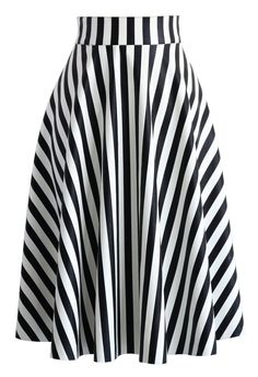 Slanted Stripes Faux Leather Midi Skirt - New Arrivals - Retro, Indie and Unique Fashion