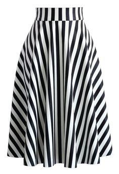 Slanted Stripes Faux Leather Midi Skirt - Skirt - Bottoms - Retro, Indie and Unique Fashion Modest Fashion, Unique Fashion, Fashion Dresses, Fashion Fashion, Fashion News, Skirt Outfits, Dress Skirt, Calf Length Skirts, Leather Midi Skirt