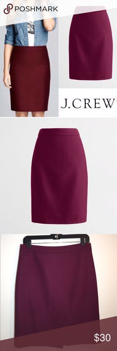 "J. Crew Double Serge Wool Pencil Skirt ✔️70% Wool/30% Viscose ✔️Back Zip ✔️Back Vent ✔️21"" Length ✔️Deep Burgundy Color ✔️No Holes, Stains or Damages J. Crew Skirts Pencil"