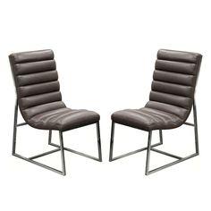 Bardot 2-Pack Dining Chair w/ Stainless Steel Frame by Diamond Sofa - Elephant Grey