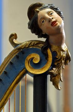 Harp from 1749 (Detail) in Leipzing Museum of Musical Instruments. Photograph: Hendrik Schmidt