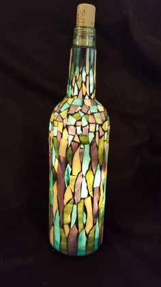 Stained Glass Mosaic Bottle Lamp by CountryRhodesMosaic on Etsy