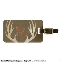 Rustic Monogram Luggage Tag with Antlers #zazzle #luggagetag #antlers #hunting #giftideas
