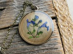 Blue Purple Botanical Necklace Speedwell Plant by KateeMarie,