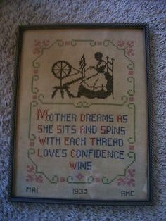 Vintage Sampler - Cross Stitch - with Colonial Lady Spinning - Dated 1933 -Framed 17x13. http://stores.ebay.com/eStuffMart