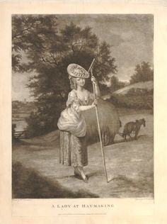 Young woman standing to right in pastoral landscape, resting on hay-fork, eyes to front, wearing elegant dress but with the outer skirt hitched up, horse drawn hay wagon in field behind; church spire seen in distance beyond gate, at l; after Lawranson.  1780 Mezzotint