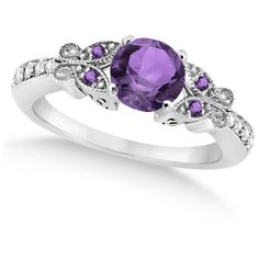 Allurez Butterfly Amethyst & Diamond Engagement Ring 14K White Gold... ($1,295) ❤ liked on Polyvore featuring jewelry, rings, accessories, purple, butterfly ring, purple engagement rings, amethyst diamond ring, white gold rings and diamond rings