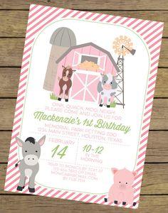 Pink Farm Birthday Invitation for a Girl Farm Party