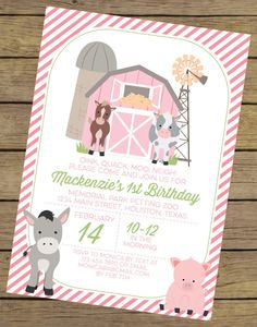 Pink Farm Birthday Invitation for a Girl by CharlesAlexDesign