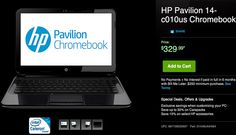 The HP Pavilion 14-c010us aims to entertain with a bigger display than most Chromebooks. HP has just entered the Chromebook business today with this model.