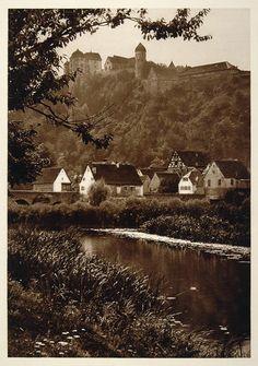 1925 Harburg Castle Wornitz River Bavarian Hielscher - ORIGINAL GER2