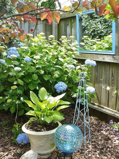 Love the effect of the layering of color in plants and garden accessories.
