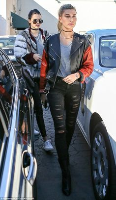 Stylish: Models Hailey Baldwin and Kendall Jenner met for lunch in Beverly Hills on Tuesday