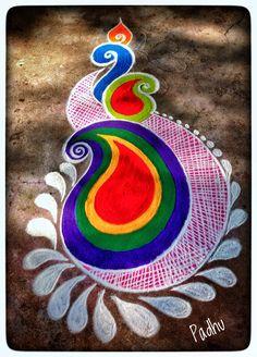Easy Rangoli Designs Diwali, Rangoli Ideas, Rangoli Designs With Dots, Beautiful Rangoli Designs, Simple Rangoli, Diya Rangoli, Floor Art, Candles, Home Decor