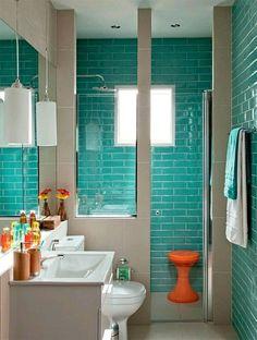 small bathroom in green and beige green bricks and niche shower … - bathroom decoration Bathroom Design Small, Bathroom Layout, Bathroom Colors, Bathroom Interior, Turquoise Bathroom, Bathroom Ideas, Toilet Design, Bathroom Wallpaper, Bathroom Renovations