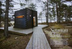 Sauna by the lake, Finland Saunas, Cabins In The Woods, House In The Woods, Mini Sauna, Sauna House, Portable Sauna, Arched Cabin, Sauna Design, Outdoor Sauna