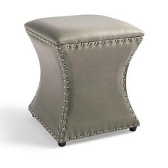 """Onyx Ottoman in """"Textured Sky Blue"""" @ Grandin Road Grandin Road, Bench Furniture, Leather Ottoman, Bonded Leather, Extra Seating, Nailhead Trim, Chair And Ottoman, Club Chairs, Home Improvement Projects"""