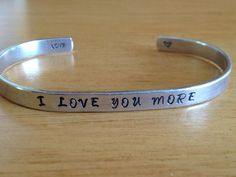 I Love You More Cuff Bracelet Hand Stamped par FamilyHouseStampin