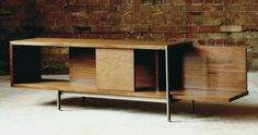 Mercer credenza (oiled black walnut, mild steel, plastic laminate)