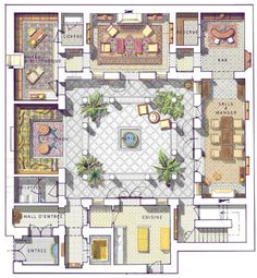 "Resultado de imagem para ""riad"" ""floor plan"" home interior garden Courtyard House Plans, House Floor Plans, Interior Garden, Interior And Exterior, Planer Layout, Moroccan Design, Moroccan Decor, Islamic Architecture, Garden Architecture"