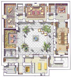 """Resultado de imagem para """"riad"""" """"floor plan"""" home interior garden Courtyard House Plans, House Floor Plans, Interior Garden, Interior And Exterior, Planer Layout, Riad, Islamic Architecture, Garden Architecture, Architecture Plan"""