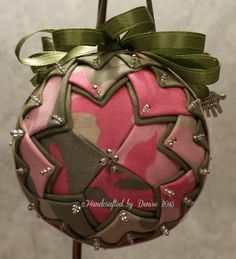 Handcrafted by Denise (Fabric Ornaments) Quilted on styrofoam ball.