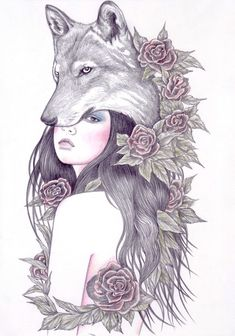 Couple drawings, wolf love, wolf tattoos, wolf and moon tattoo, body art . Wolf Girl Tattoos, Wolf And Moon Tattoo, Wolf Love, Animal Drawings, Cool Drawings, Wolf Artwork, Wolf Illustration, Art Watercolor, Wolf Spirit