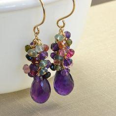 Purple Amethyst Tourmaline Gold Earrings