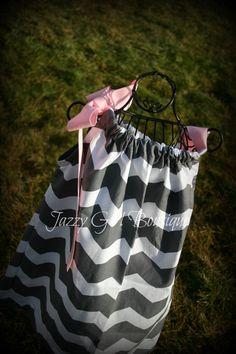 Girls Pillowcase Dress Grey Chevron Stripe by jazzygirlboutique, $18.75