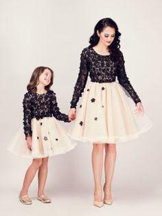 Seturi mama-fiica - Hira Design - Handmade Romania Daisy, Tulle, Satin, Skirts, Handmade, Romania, Vintage, Black, Design