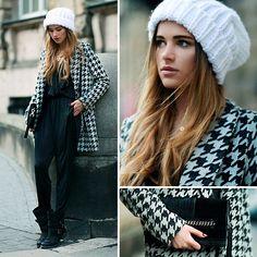 one-piece + check jkt + knit cap