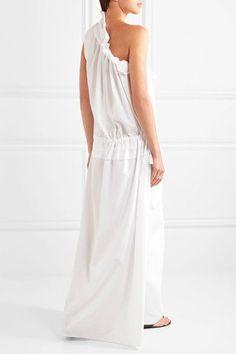 Georgia Alice - One-shoulder Ruffled Cotton-poplin Maxi Dress - White - UK10
