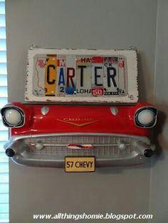 All Things Homie: Carter's Vintage Chevy Nursery Reveal! If our next is a boy! Boy Car Room, Boy Nursery Cars, Baby Boy Rooms, Baby Boy Nurseries, Baby Room, Car Themed Nursery, Boys Car Bedroom, Toddler Rooms, Vintage Car Room