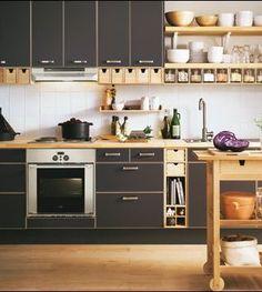 Dark Kitchen Cabinets with Butcher Block Countertops