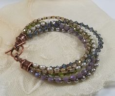 Multi Strand Crystal and Pearl Bracelet by BeBoDesigns on Etsy