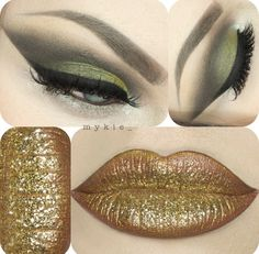 Holiday Glam Look How To Feel Beautiful, How To Look Pretty, Make Up Art, Green Eyeshadow, Gel Liner, Sfx Makeup, Fantasy Makeup, Lip Art, Nyx Cosmetics