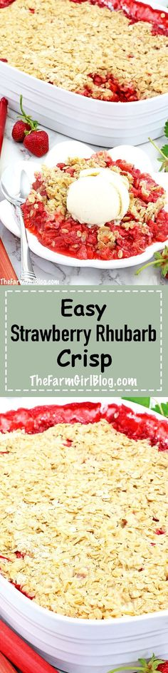 This Easy Strawberry Rhubarb Crisp Recipe is much easier to make and healthier t. - This Easy Strawberry Rhubarb Crisp Recipe is much easier to make and healthier than a pie. The cris - Frugal Meals, Easy Meals, Homemade Crisps, Strawberry Rhubarb Crisp, Potato Crisps, Baked Strawberries, Crisp Recipe, Vegan Recipes, Delicious Recipes